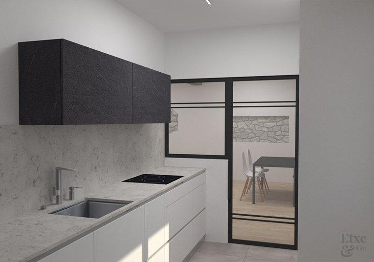 Nueva cocina de la vivienda a reformar estructural por EtxeAndCo