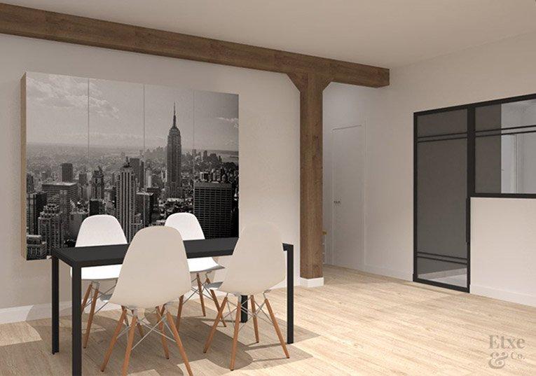 Imagen del salón comedor de la nueva vivienda con su reforma estructural para personas de mucha altura