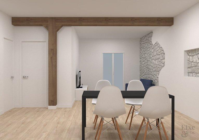 Imagen del futuro salón tras la reforma estructural de EtxeAndCo