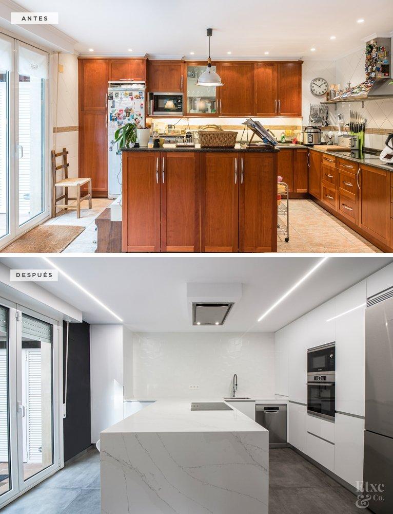 Antes y después de reforma en cocina de vivienda de calle Lanberri, Donostia. Lavado de cara