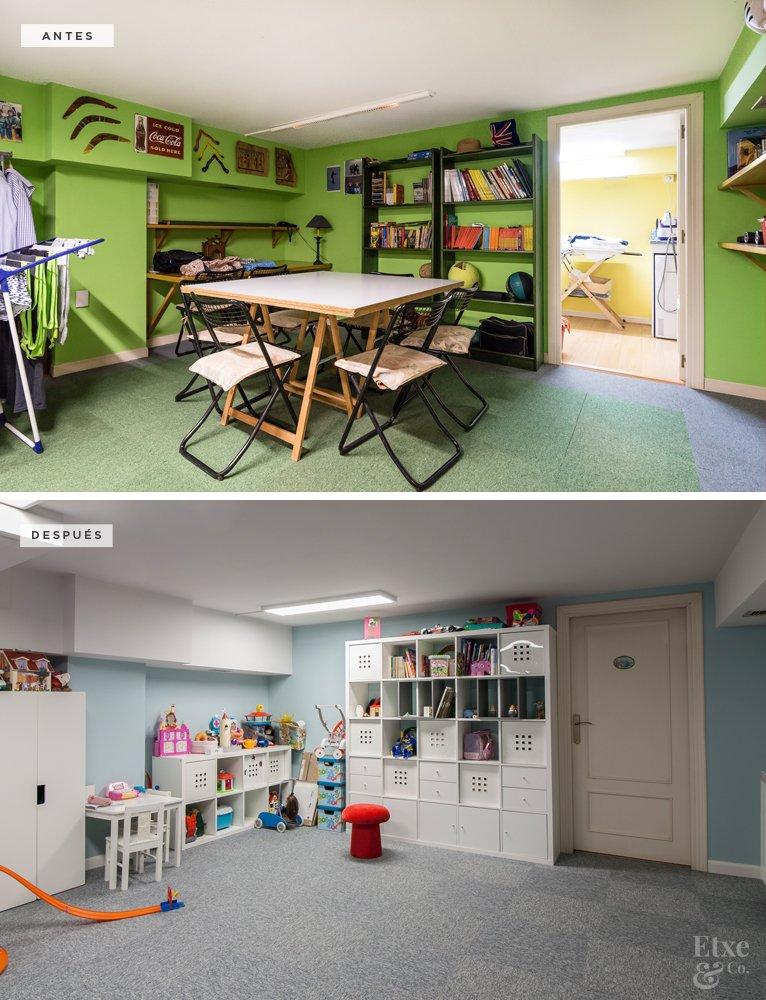 Antes y después de la reforma del cuarto de juegos de la vivienda en calle Lanberri, Donostia. Lavado de cara.