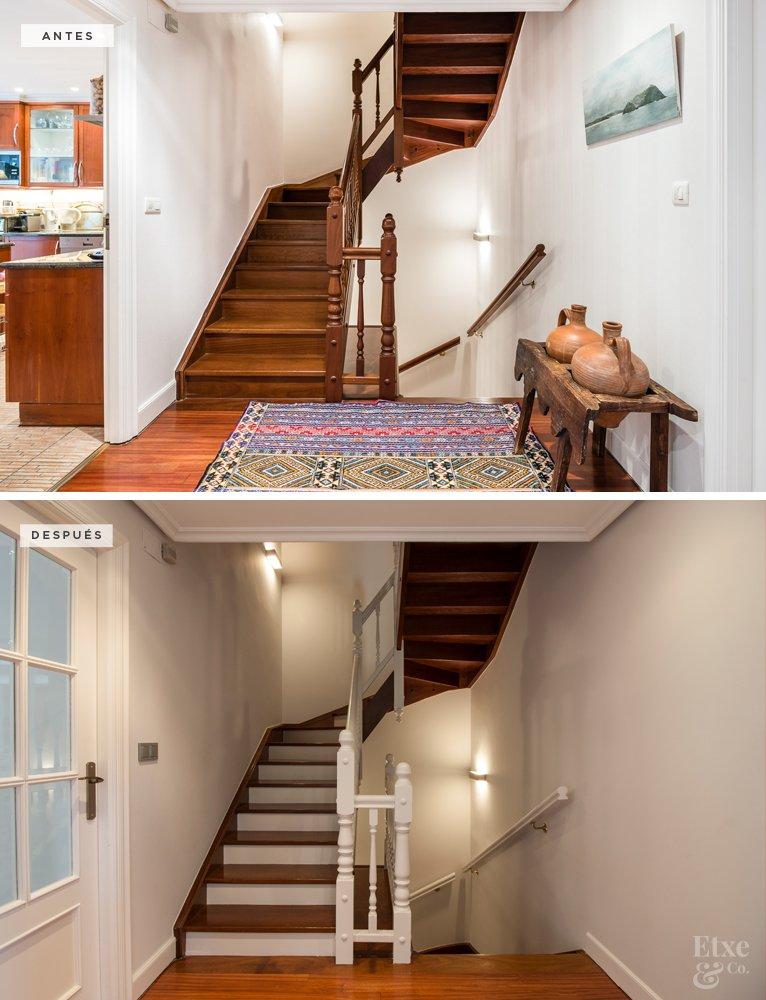 Antes y después de la reforma de las escaleras en vivienda de calle Lanberri, Donostia. Lavado de cara.