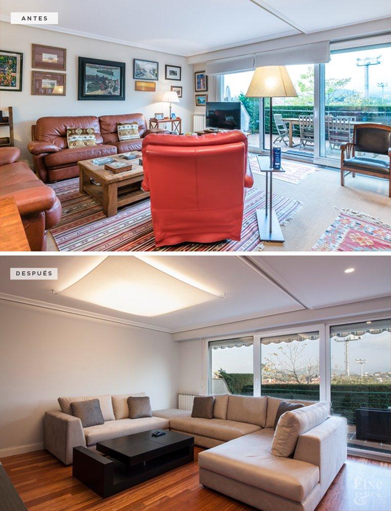 Antes y después de la reforma de la sala de vivienda en calle Lanberri, Donostia. Lavado de cara