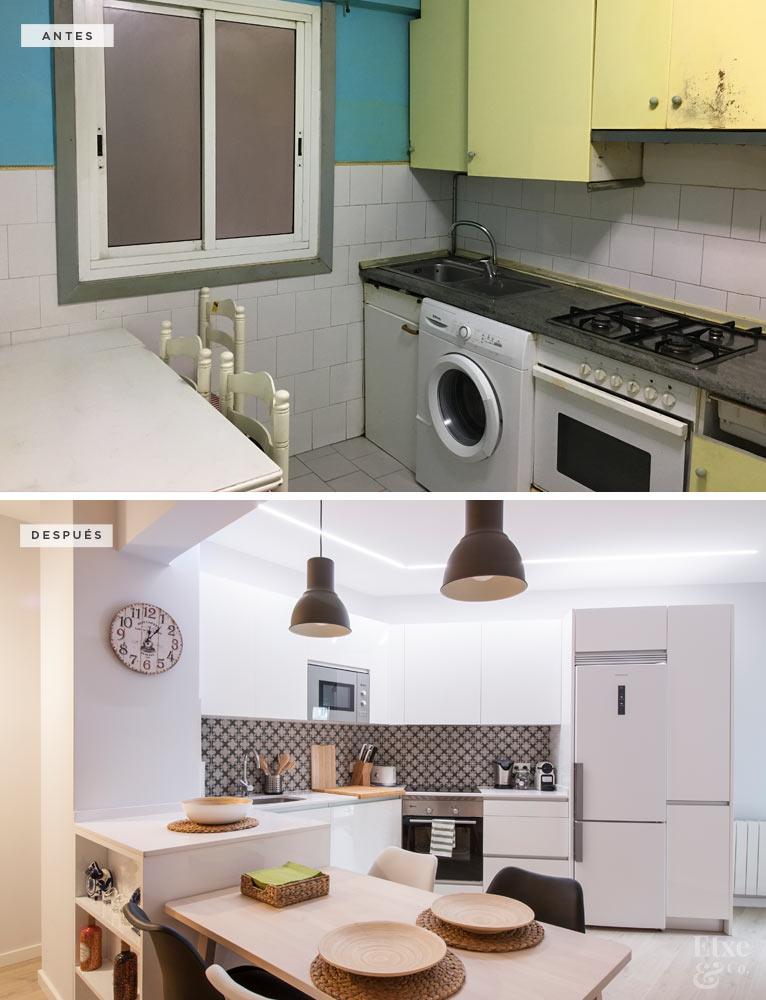 Estado de la cocina antes y después