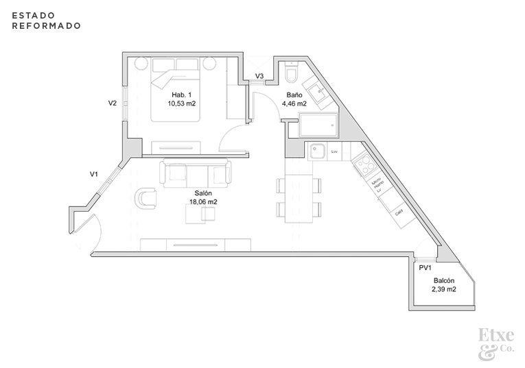 Plano del estado reformado de la casa Isabel II
