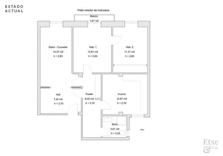 Plano del estado actual de vivienda en Easo