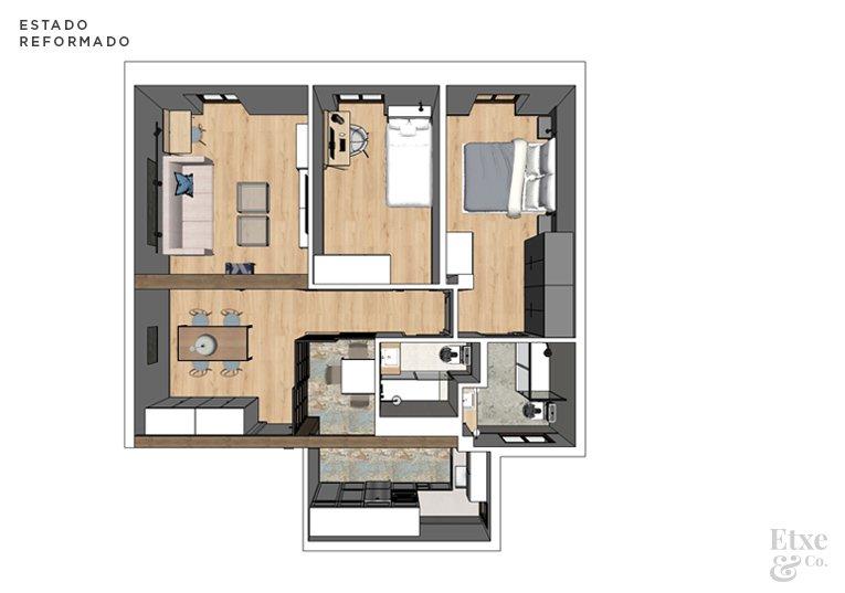Plano 3D del estado reformado de vivienda en Easo