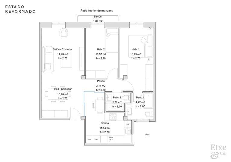 Plano del estado reformado de vivienda en Easo