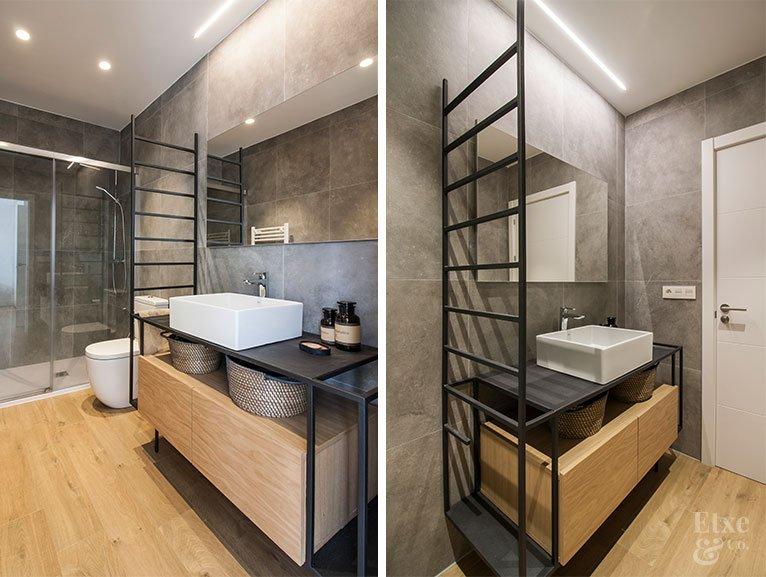 Fotografía del baño de la habitación principal de la vivienda del barrio de Gros tras la reforma
