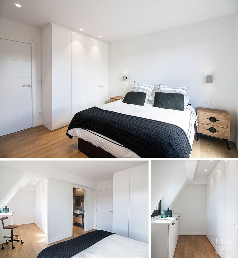Distintas perspectivas del estado actual de la habitación con vestidor y baño de la vivienda reformada del barrio de Gros tras separar vida y trabajo en dos estancias