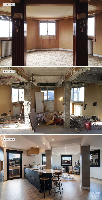 Fotografías del proceso de reforma de la cocina y el salón desde el antiguo estado al actual