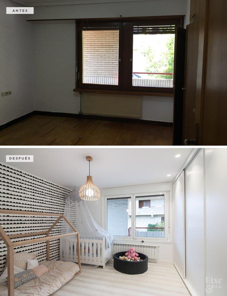 Antes y despues habitación en vivienda Bera Bera