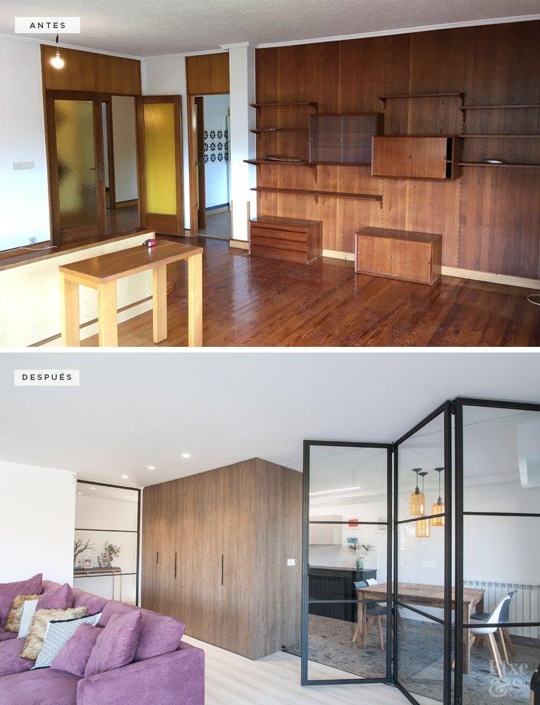 Antes y después salon en vivienda de Bera Bera