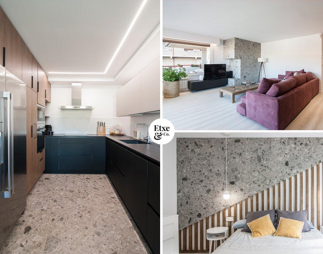 Cocina, salon y habitacion en vivienda de Bera Bera