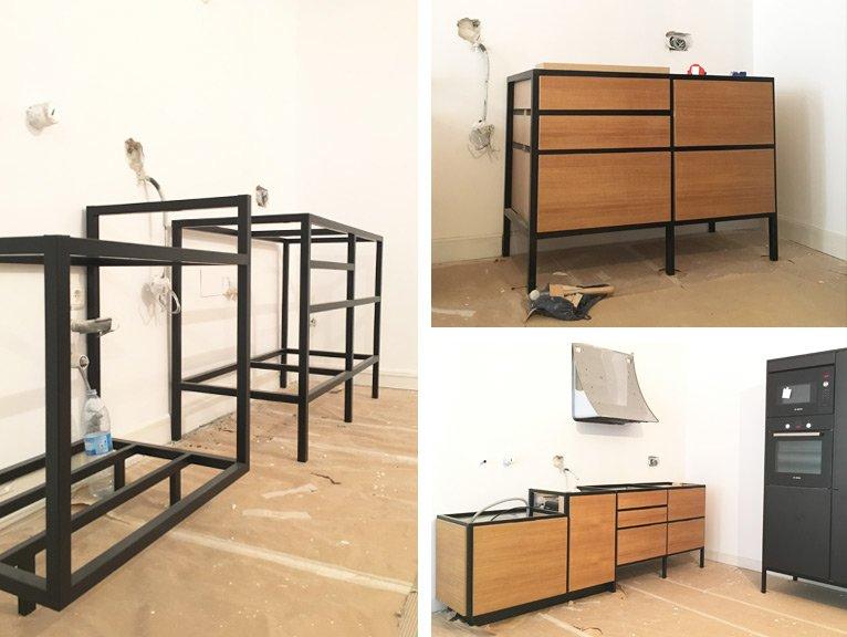 Muebles hechos por Etxe and Co, mueble con sabor a antiguo con estructura de hierro lacado negro y módulo.