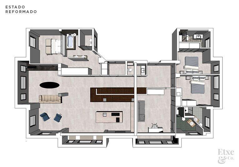 Plano del estado reformado de la vivienda en 3D