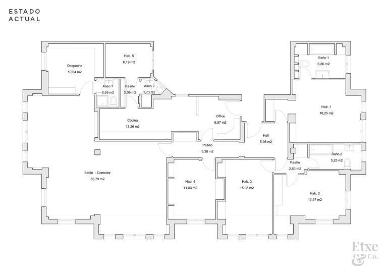Plano del estado actual de la vivienda