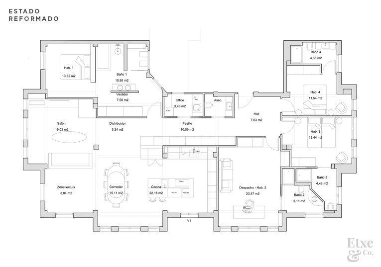 Plano del estado reformado de la vivienda