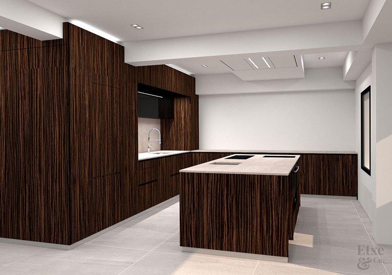 Imagen render de la futura cocina de la vivienda de lujo