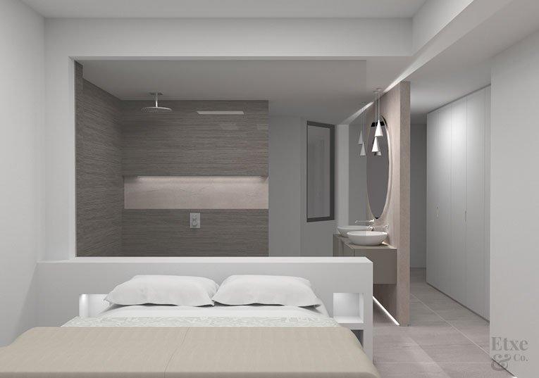 Imagen render de la futura habitación de la vivienda de lujo