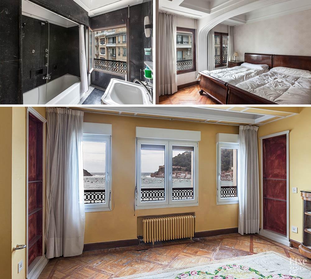Imagenes en mosaico del estado inicial del interior de la vivienda de lujo, la futura reforma de lujo.