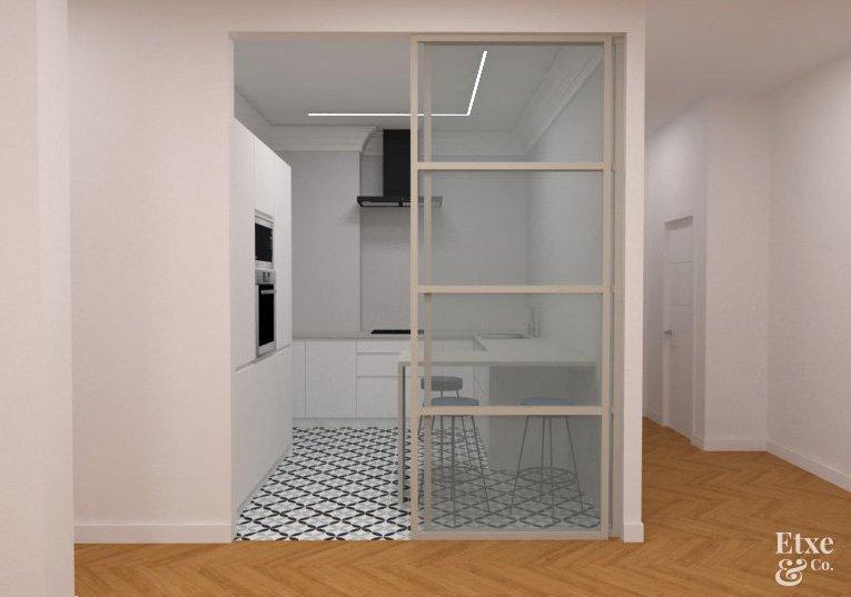 Cocina y Sala reformadas en piso de San Bartolome