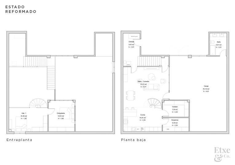 estado reformado de la propuesta del garaje vivienda