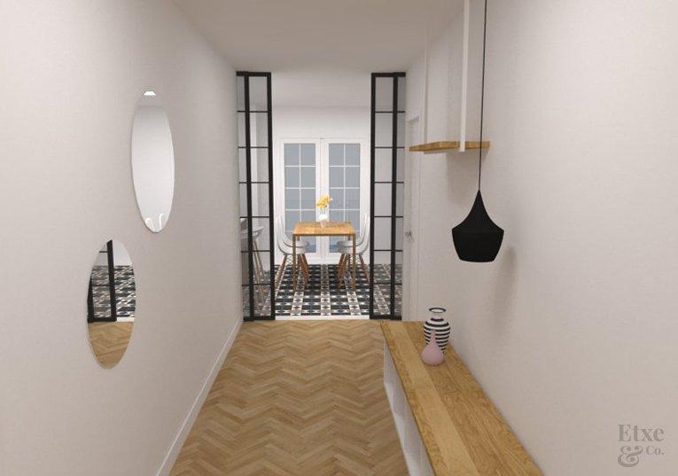 Pasillo reformado en apartamento de paseo Berio, Donostia