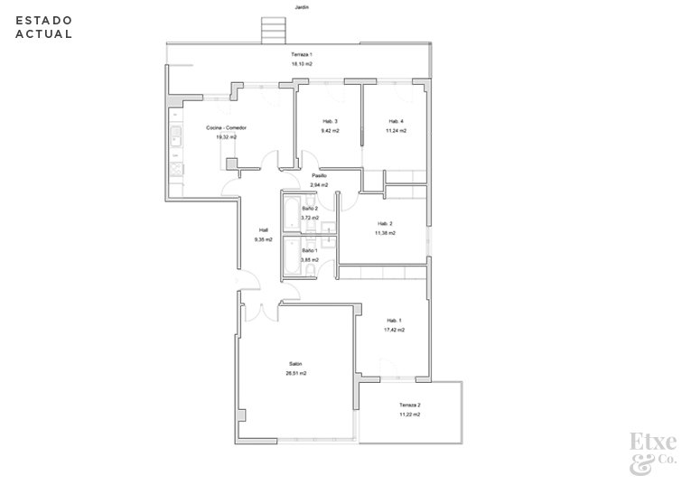 Plano de estado actual en apartamento de paseo Berio, Donostia