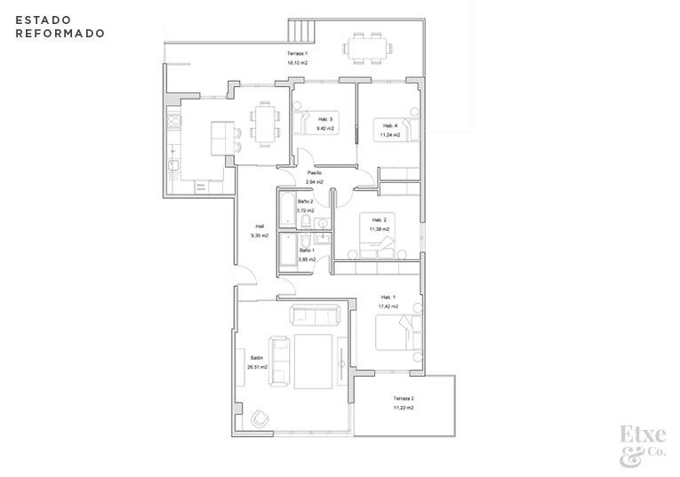 Plano con reformas en apartamento de paseo Berio, Donostia